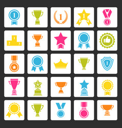 award icons set prizes collection vector image