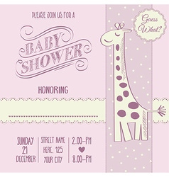 Baby girl shower card with retro toy vector