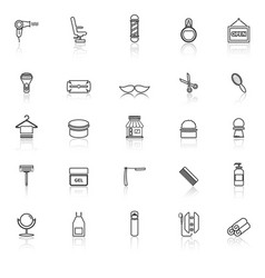 Barber line icons with reflect on white background vector