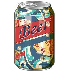 Beer in fancy design can vector image