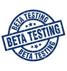 Beta testing blue round grunge stamp vector