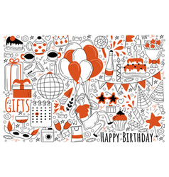 birthday holiday doodle set vector image