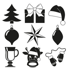 black and white 9 christmas elements set vector image