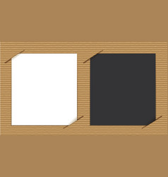 Black and white papers on cardboard background vector