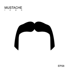 Black mustache icon isolated vector
