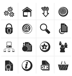 Black Website and internet icons vector image