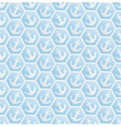 Blue pattern seamless with anchors vector
