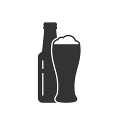 bottle and glass of beer icon vector image