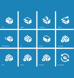 Box icons on blue background vector