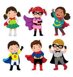 Boys and girls in superhero costumes on white vector
