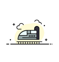 Bullet train high speed business flat line filled vector
