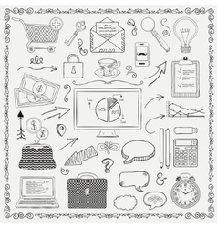 Business vintage black hand sketched icons vector