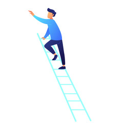 businessman climbing up the ladder vector image