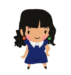 Cartoon girl flat sticker icon vector image