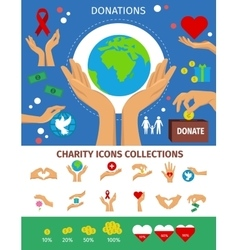 Charity flat isolated concept vector