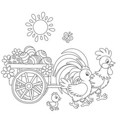 Chicken family with a cart of easter eggs vector