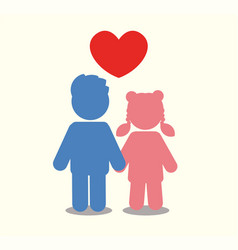 children icon couple icon with heart love vector image
