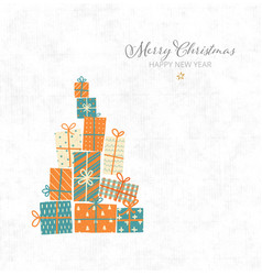 christmas greeting card with gift boxes on vector image