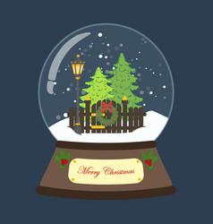 christmas snow globe with christmas tree and vector image