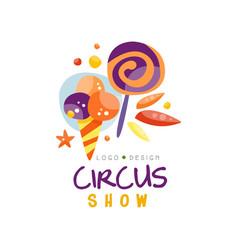 circus show logo design carnival festive vector image