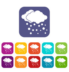 Cloud and snow icons set vector