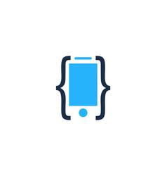 code mobile logo icon design vector image