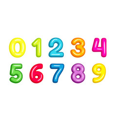 colorful kid font numbers vector image