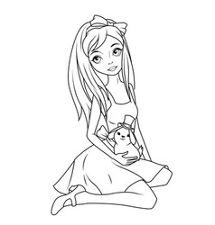 Coloring book alice holding rabbit wearing top hat vector