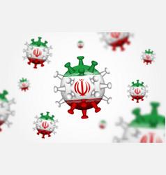 covid19-19 3d floating corona virus with iran flag vector image