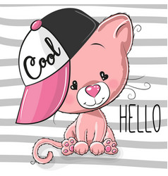 cute kitten with a pink cap vector image