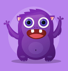 cute little cartoon monster purple angry little vector image