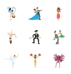 Dancing icons set cartoon style vector