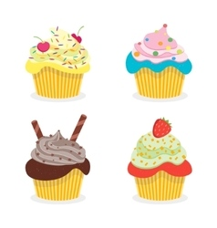 Delicious Cupcakes Set vector image