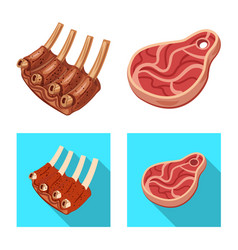 Design of meat and ham symbol set of meat vector