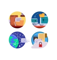 Documentation and document management set icon vector image