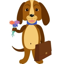 Dog back to school of a cartoon vector