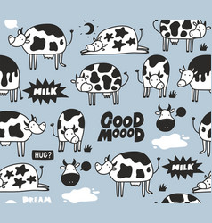 Doodle cows and bulls on blue background with milk vector