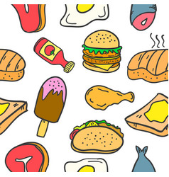 Doodle of various food and drink set vector