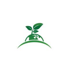 earth leaf logo design template vector image