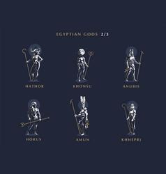 egyptian gods set of emblems vector image