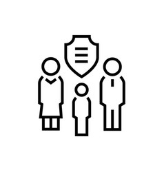 Family protection - line design single isolated vector