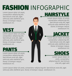 Fashion infographic with man in suit vector