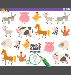 Find two same farm animals educational game vector