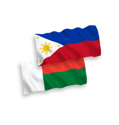 Flags madagascar and philippines on a white vector