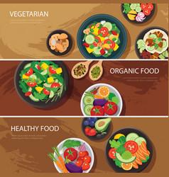 food web banner flat design vegetarian organic vector image