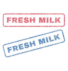 Fresh milk textile stamps vector