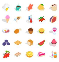 fruit snack icons set isometric style vector image