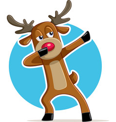 Funny dabbing reindeer cartoon vector