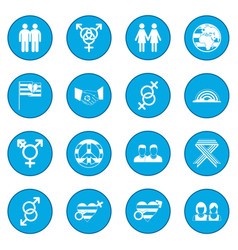 Gays icon blue vector
