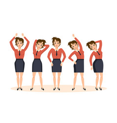 Girl in office in various poses and situations vector